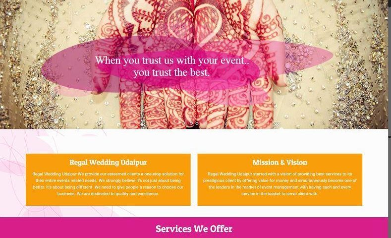 Wedding Planner Website Design Company Udaipur Rajasthan