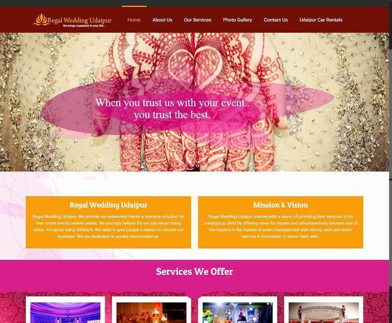 Wedding Planner Website Design Company Udaipur, Rajasthan, India