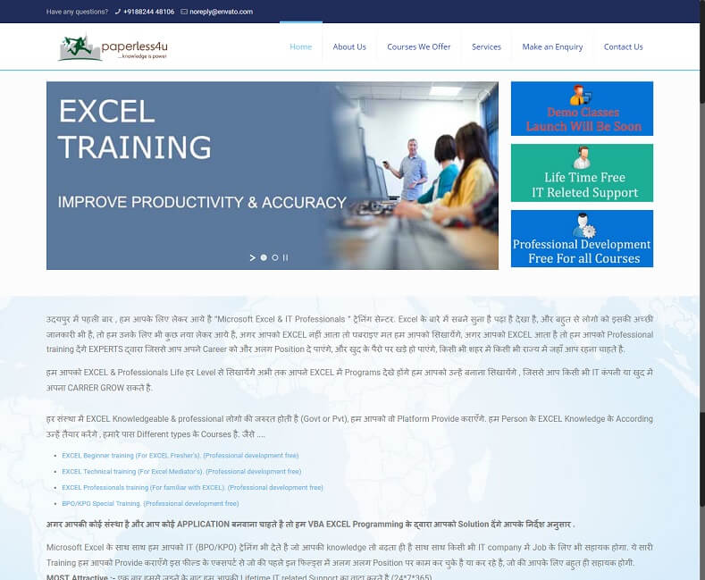 Training Center Website Design Company
