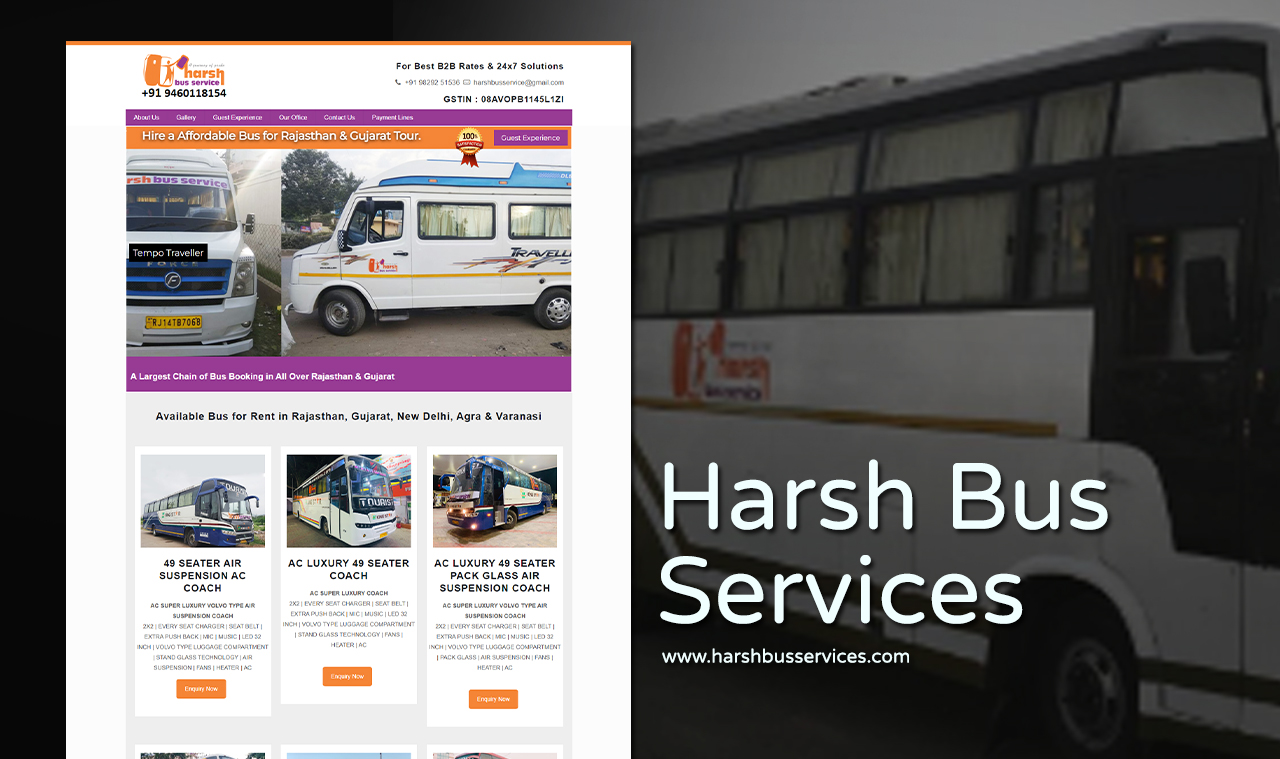 Luxury Bus Car Services Website Design Company