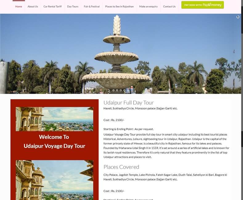 Tour Website Design Company Udaipur,